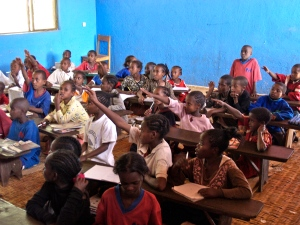 Ethiopian village children in class room