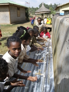 Hand washing station in Ethiopian village to help improve health care