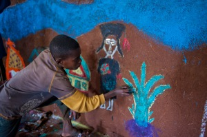 Lester kids painting hut